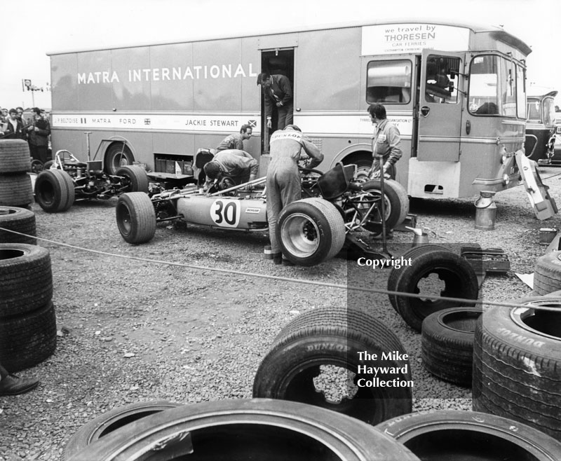 Mechanics working on a Matra 4WD MS84 in the paddock, Silverstone, British Grand Prix 1969.