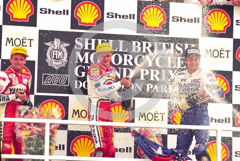 Race winner Kevin Schwantz, runner-up Wayne Rainey and in third place Mick Doohan, Donington Park, British Grand Prix 1991.