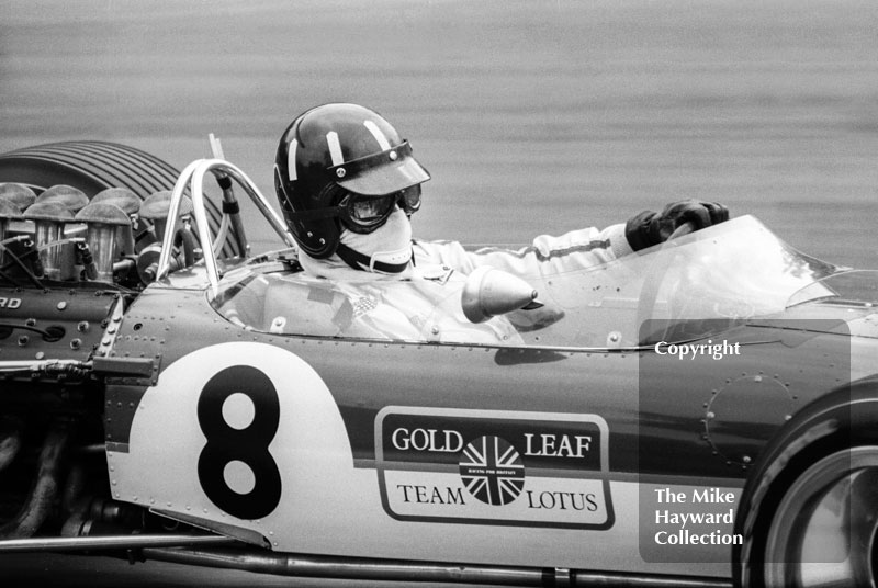 Graham Hill, Gold Leaf Team Lotus 49, at Druids Hairpin, Brands Hatch, 1968 British Grand Prix.