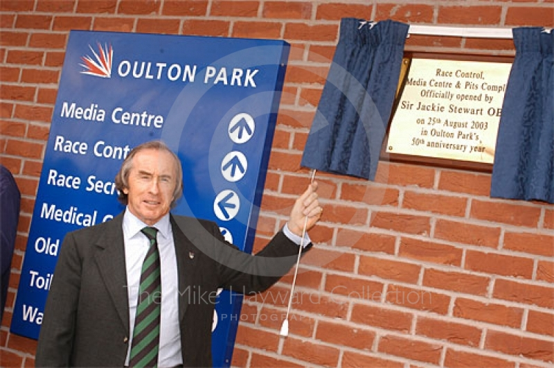 Jackie Stewart open the media centre, Oulton Park Gold Cup, 2003
