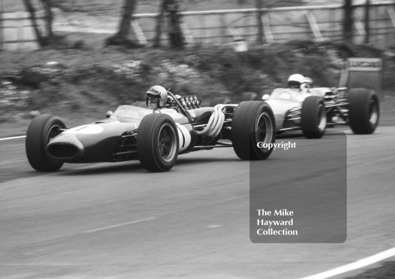 Jack Brabham, Brabham Repco BT20, leads Bob Anderson, Brabham Climax BT11, into Druids Hairpin, Brands Hatch, Race of Champions 1967.