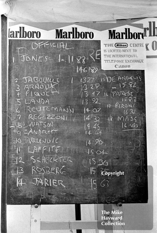 Practice times on a blackboard in the paddock at Silverstone, 1979 British Grand Prix.