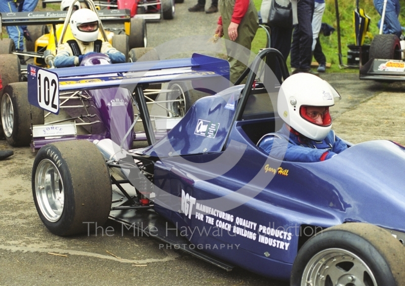 Gary Hill, OMS SF98, in the paddock at Loton Park Hill Climb, April 2000.