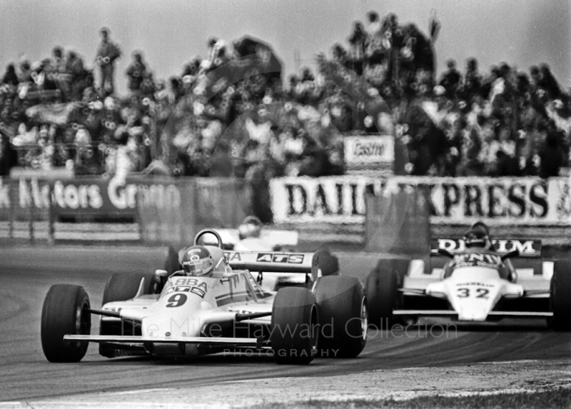 Slim Borgudd, ATS D5, heading for 6th place, leads Jean-Pierre Jarier, Osella FA1B, Silverstone, British Grand Prix 1981.