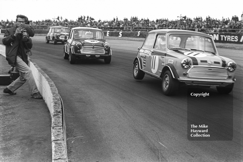 Steve Neal, Britax Mini Cooper Downton; John Rhodes, British Leyland Mini Cooper S; and John Handley, British Leyland Mini Cooper S; Silverstone, British Grand Prix meeting 1969.