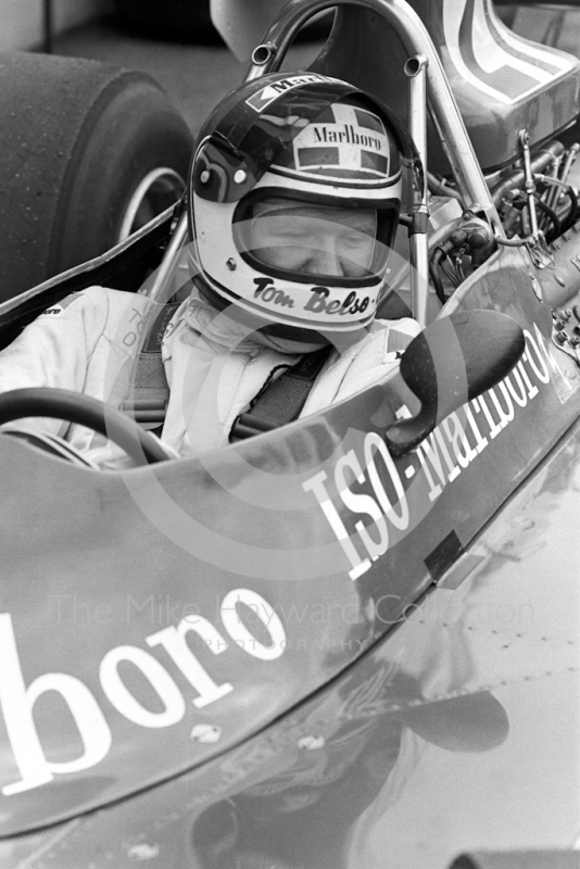 Tom Belso, Iso Marlboro FW, on the grid before the start of the 1974 British Grand Prix at Brands Hatch.