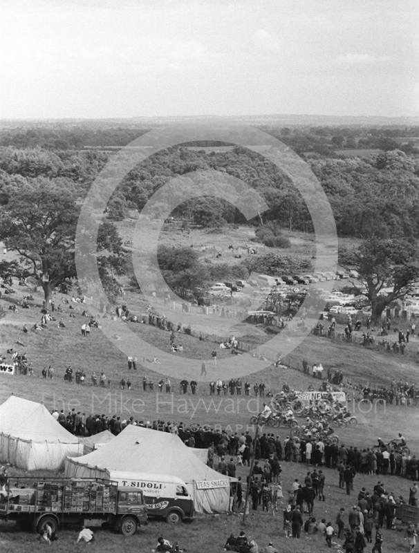 Start of a solo race from the top of the hill, 1966 motocross meeting, Hawkstone.