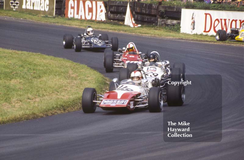 Roger Williamson, March 713M; James Hunt, March 713M; Dave Walker, Gold Leaf Team Lotus Novamotor; and Brendan McInerney, March 713M; Oulton Park, Gold Cup meeting 1971. The Martini MW7 of Jacques Dolhem can be seen in the background.