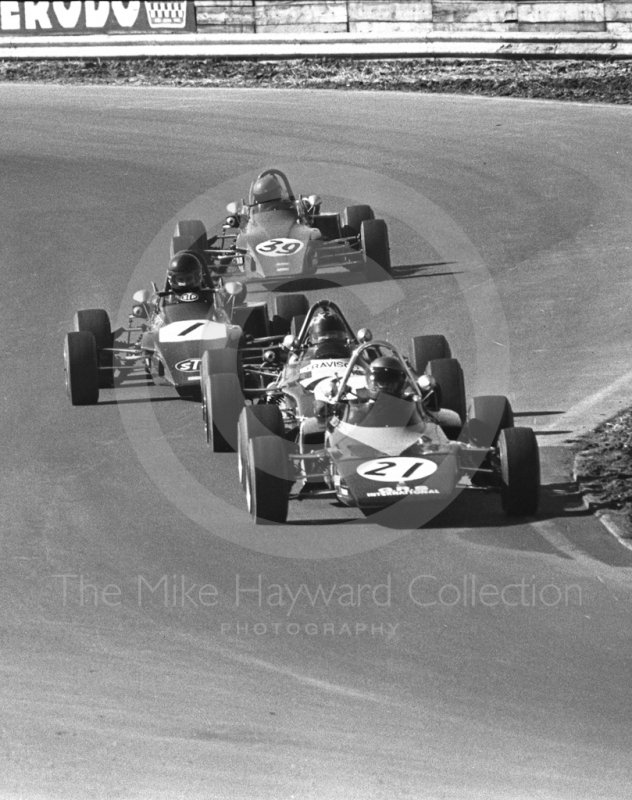 Andy Sutcliffe, GRS GRD 372; James Hunt, STP March 723; and Bob Evans, Alan McKechnie March 723, Mallory Park, Forward Trust 1972.
