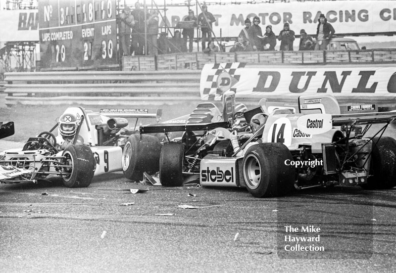 Accident at the chicane showing Hans Binder, March 752 BMW, and Alberto Colombo, March 752 BMW, Wella European Formula Two Championship, Thruxton, 1975