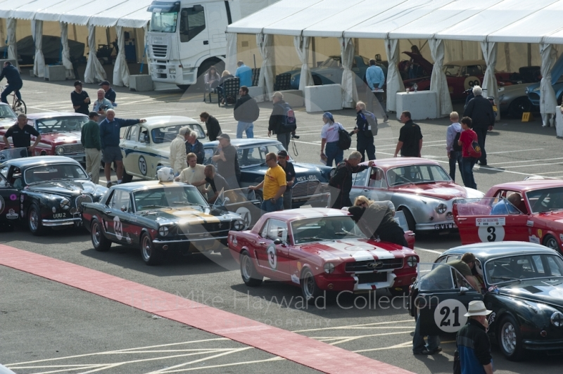 HSCC Big Engine Touring cars line up for practice, Silverstone Classic, 2010
