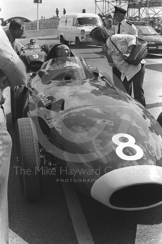 Stirling Moss on the grid in a Vanwall at the European Formula 2 Championship meeting, Donington Park, 1981.
