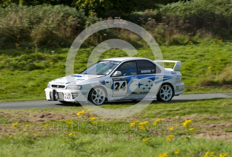 Nigel Burke, Subaru Impreza, Hagley and District Light Car Club meeting, Loton Park Hill Climb, September 2013.