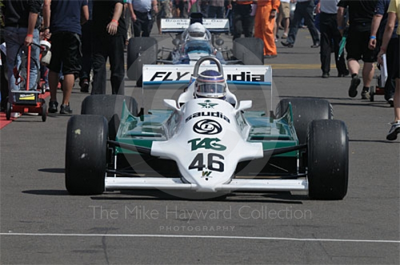 Roy Walzer, Williams FW07/D, in the paddock before the Grand Prix Masters race, Silverstone Cassic 2009.