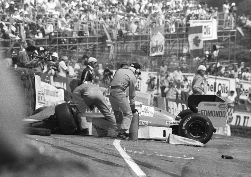 Allen Berg's Osella FA1H after first lap accident, Brands Hatch, British Grand Prix 1986.