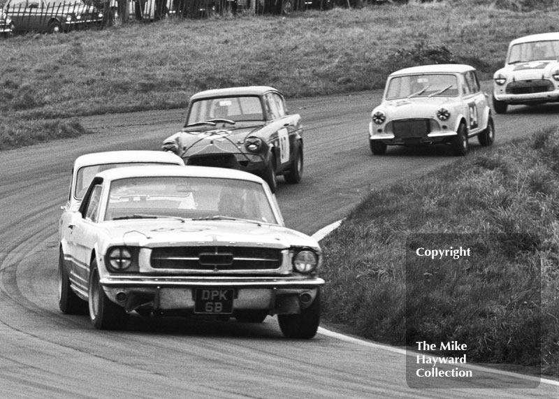 Robin Smith, Ford Mustang; John Myerscough, Ford Anglia; and Paul Purseglove, Mini Cooper S; Redex Special Saloon Car Championship, BRSCC £1000 meeting, Oulton Park, 1967.