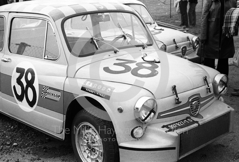 SRT Holland Fiat Abarth 1000 Berlinas of Toine Hezemans (TO997927) and AB Goedemans in the paddock at Thruxton, Easter Monday meeting 1968.