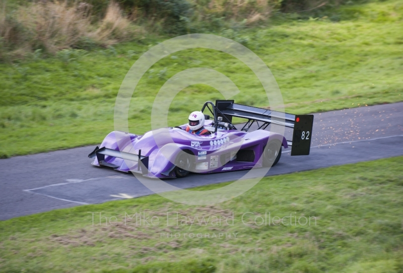 Rob Stevens, Force SR4, sparking on the straight, Hagley and District Light Car Club meeting, Loton Park Hill Climb, September 2013.