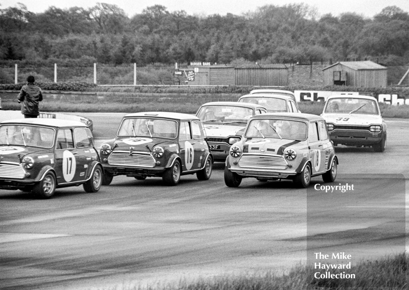 John Rhodes, British Leyland Mini Cooper S; John Handley, British Leyland Cooper S; Steve Neal, Britax Cooper Downton; Rod Mansfield, Team Diamond Ford Escort; and Tom Belso, Team Broadspeed Ford Escort; Silverstone Martini International Trophy meeting 1969