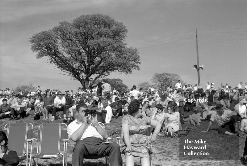 Spectators enjoying the sunshine at Mallory Park, May 17 1964.