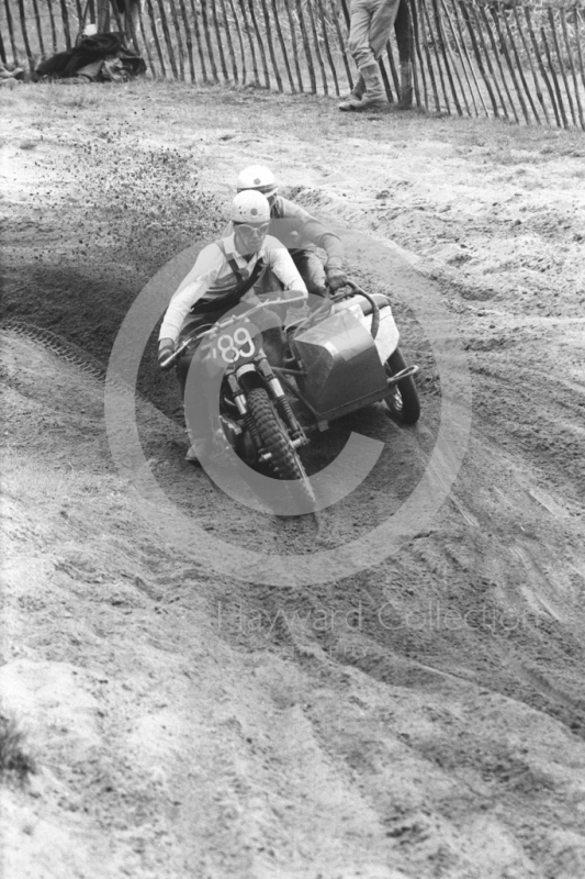 Sidecar kicks up sand, 1966 motocross meeting, Hawkstone.