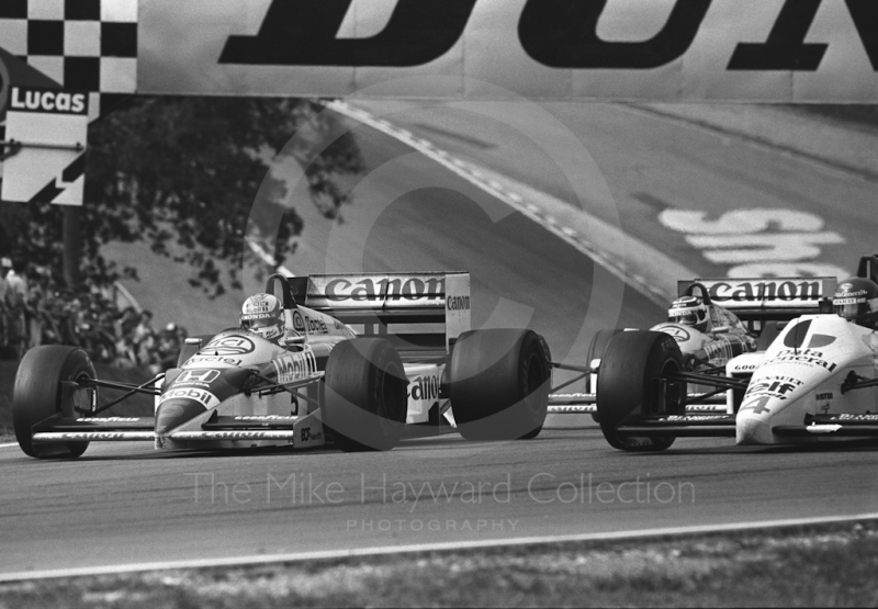 Nigel Mansell, Williams Honda; Nelson Piquet, Williams Honda; and Philippe Streiff, Tyrrell 015, Brands Hatch, British Grand Prix 1986.