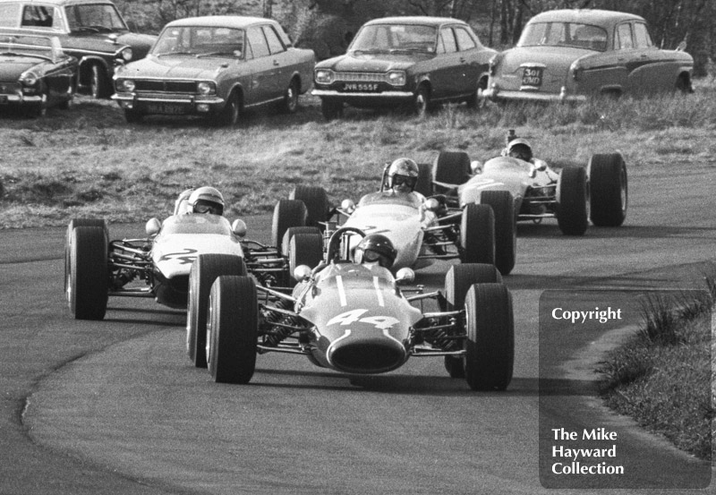Roy Pike, Charles Lucas Titan Mk 3, leads Mike Walker, Chequered Flag/Scalextric McLaren M4A, Tony Lanfranchi, Ken Bass Racing Merlyn M10A and Peter Gethin, Chevron B9, BRSCC Trophy, Formula 3, Oulton Park, 1968.