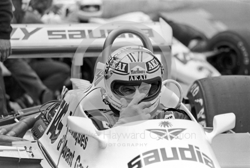Alan Jones, Saudia Leyland Williams FW07C Cosworth V8, Silverstone, British Grand Prix 1981.