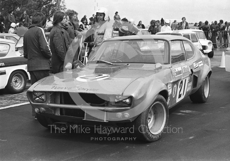 Bill Cox, WRC Capri, Super Sports 200 meeting, Silverstone, 1972.