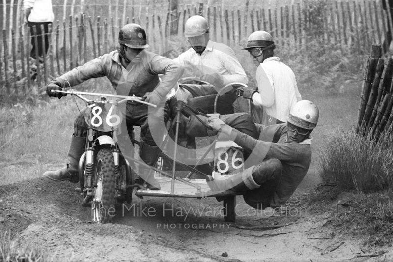 Sidecar action, 1966 motocross meeting, Hawkstone.