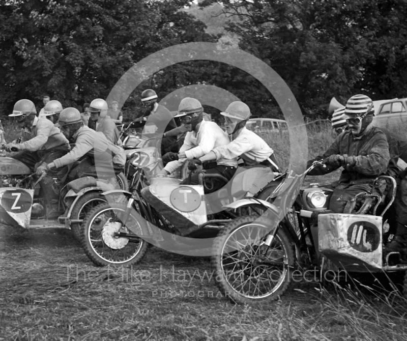 Sidecar start, with Dave Treleaven and Ken Canfield on the right, Kinver, Staffordshire, 1964.