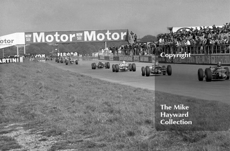 Formula 3 cars on the main straight, Silverstone International Trophy, 1966.