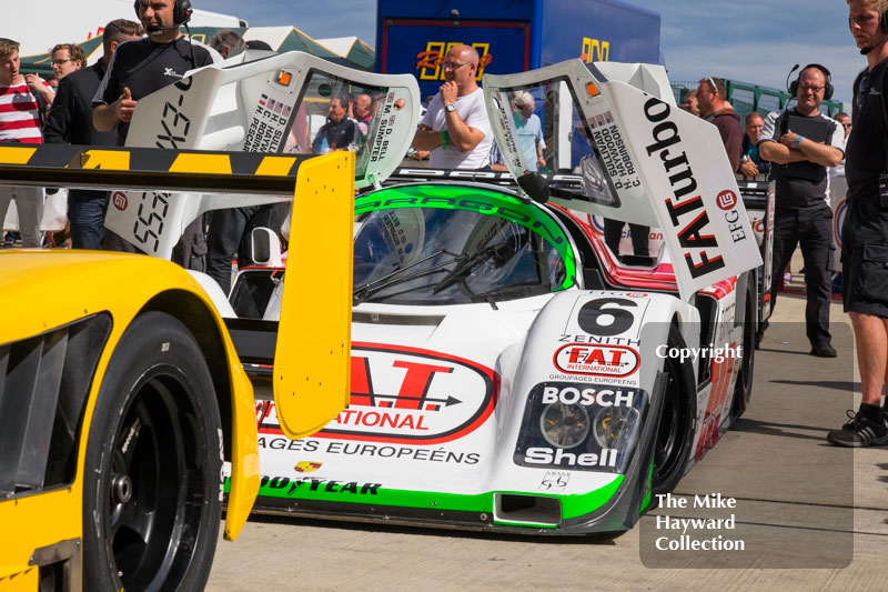 Mark Sumpter, Porsche 962, in the paddock during the 2016 Silverstone Classic.