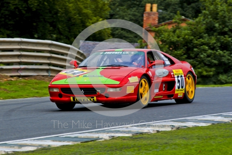 Richard Franklin driving a Ferrari F355 round Lodge Corner, Oulton Park, during the Pirelli Ferrari Maranello Challenge, August 2001.