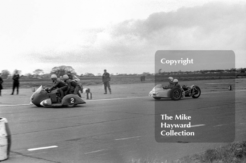 Sidecar action, Perton, 1963, Perton Airfield, South Staffordshire.
