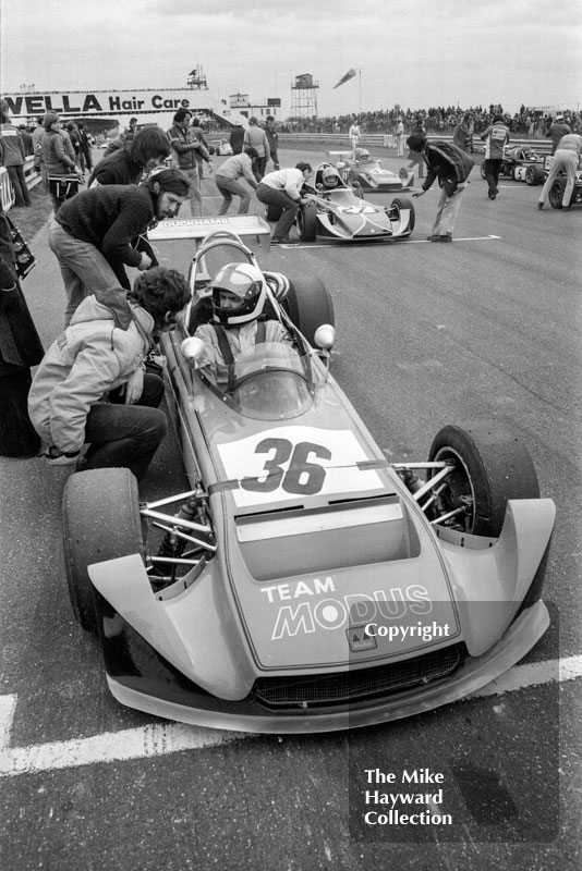 Dick Parsons, Modus M1, on the grid at Thruxton, 1975 BARC Super Visco F3 Championship.