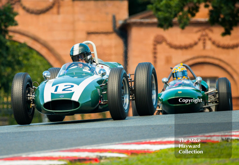 Rudi Friedrichs, Cooper T53, followed by Dan Collins, Lotus 21, HGPCA Race For Pre 1966 Grand Prix Cars, 2016 Gold Cup, Oulton Park.