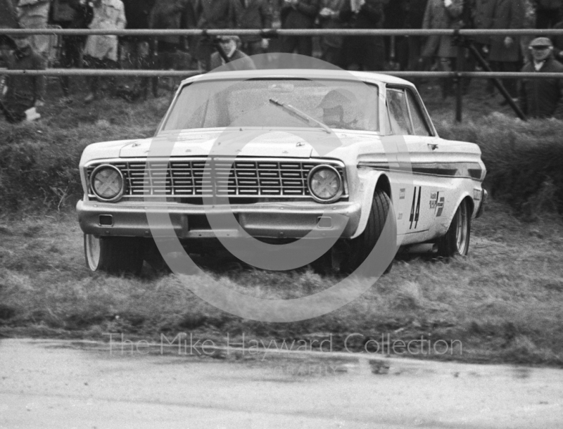 Terry Sanger investigates the wet grass in his Ford Falcon, Silverstone International Trophy meeting 1969.