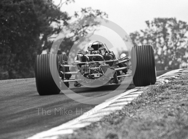 Jackie Stewart, Matra V8 MS10-02, exits South Bank Bend, British Grand Prix, Brands Hatch, 1968.