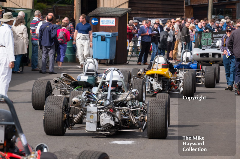 Cars assembled in the paddock, Shelsley Walsh Classic Nostalgia, July 23 2017.