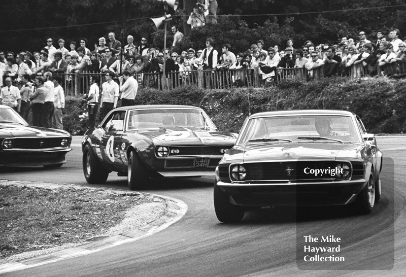 Dennis Leech, Ford Mustang; Brian Muir, Chevrolet Camaro Z28 (CAB 24H), and Frank Gardner, Ford Mustang, Brands Hatch, British Grand Prix meeting 1970.