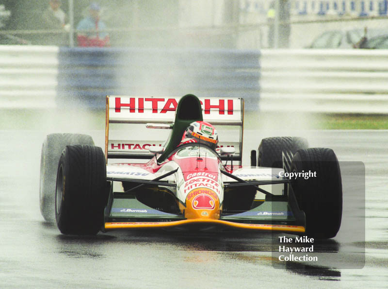 Johnny Herbert, Lotus 107B, seen during qualifying for the 1993 British Grand Prix at Silverstone.