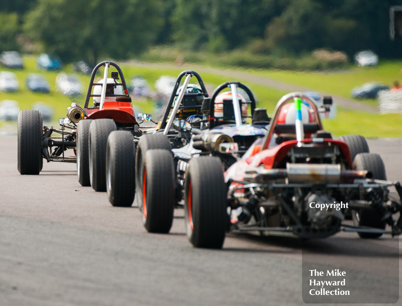 Formula Fords leaving Old Hall, 2017 Gold Cup, Oulton Park.