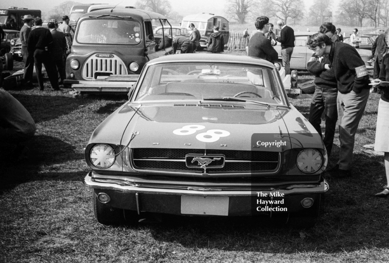 Ford Mustang of Gawaine Baillie in the paddock, Oulton Park Spring Race Meeting, 1965
