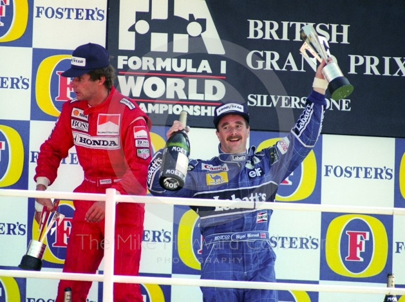 Race winner Nigel Mansell on the podium, Silverstone, British Grand Prix 1991.