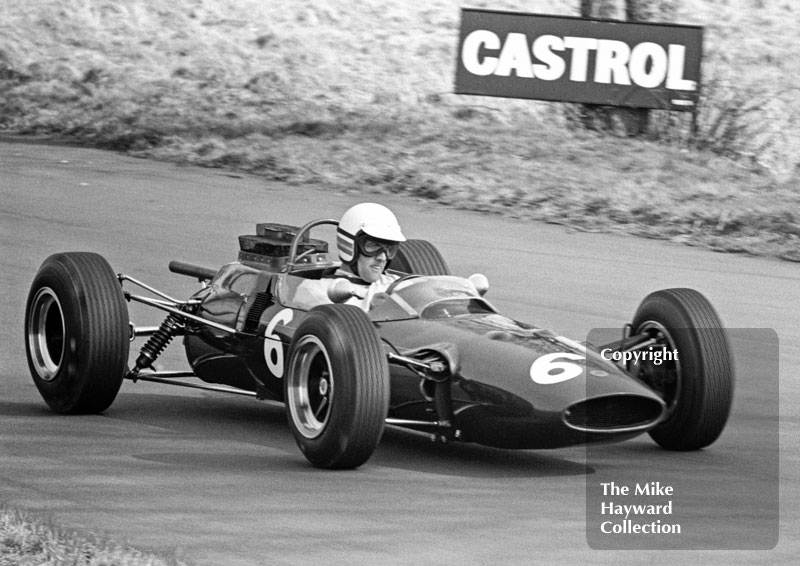 Brian Hart, Ron Harris Team Lotus 35-F-3,before retiring with suspension trouble, Oulton Park, Spring International 1965.