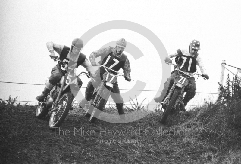Trio of riders, motorcycle scramble at Spout Farm, Malinslee, Telford, Shropshire between 1962-1965