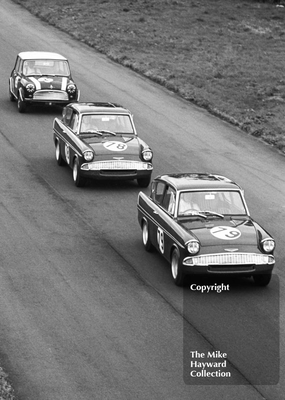 Chris Craft, Superspeed Conversions Ford Anglia; Mike Young, Superspeed Conversions Ford Anglia; and John Rhodes, Mini Cooper S, Oulton Park Gold Cup meeting, 1966.