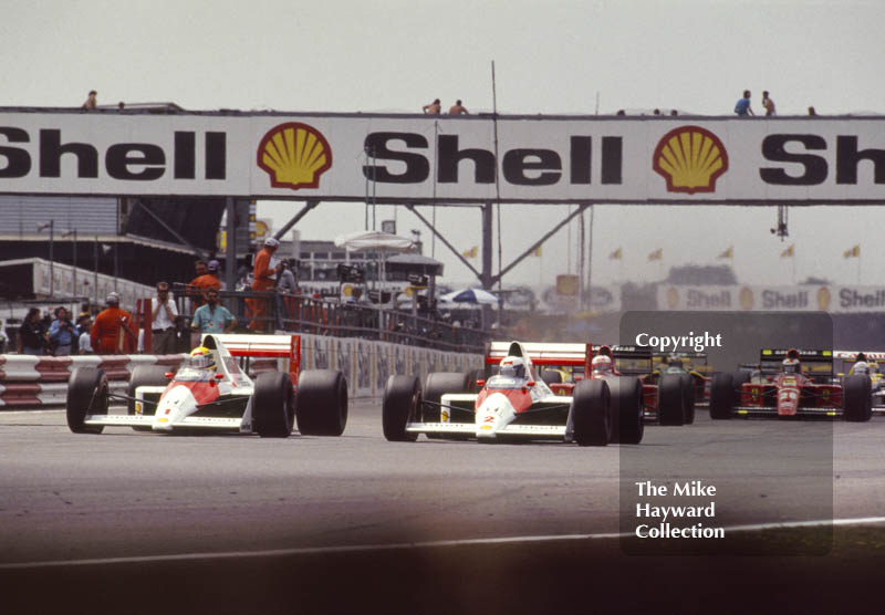 Ayrton Senna, Alain Prost, both in a McLaren MP4/5, British Grand Prix, Silverstone, 1989.