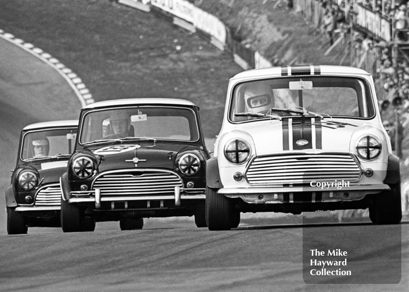 Chris Montague, Mini Cooper S, and Richard Longman, Mini Cooper S, Terry Harmer, Guards Trophy Touring Car Race, Race of Champions meeting, Brands Hatch, 1970.